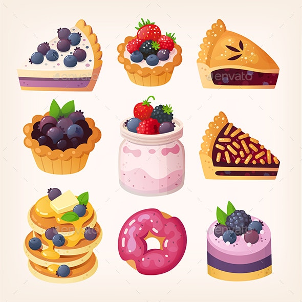 Set of Vector Blueberry Desserts - Food Objects