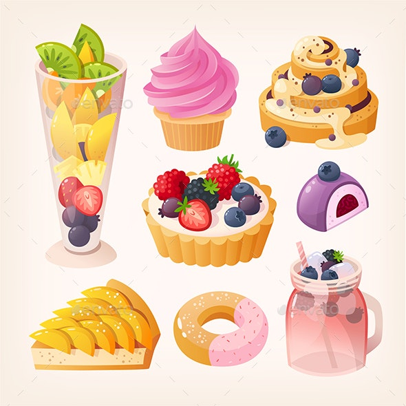 Set of Vector Fruit Desserts - Food Objects