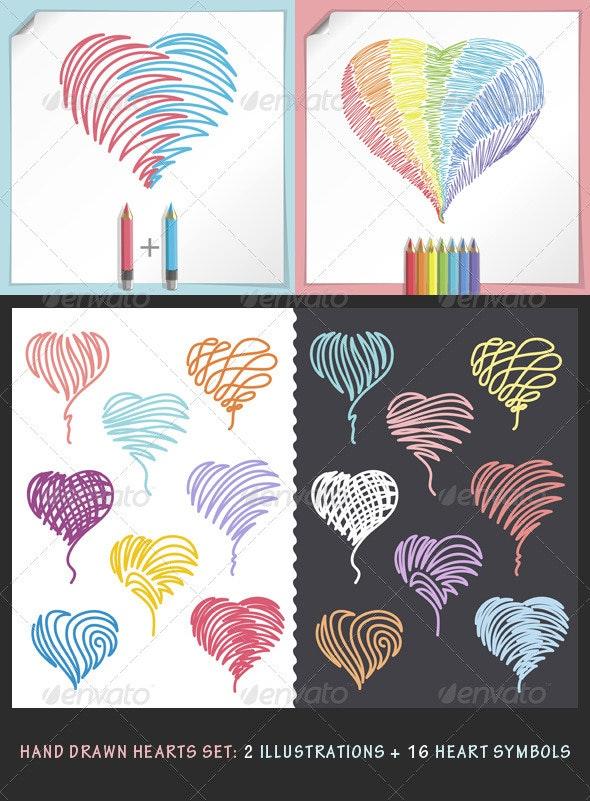 Hand Drawn Hearts Set - Decorative Symbols Decorative