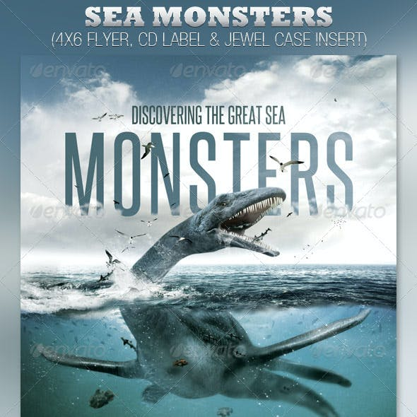 Discover Great Sea Monsters Church Flyer and CD