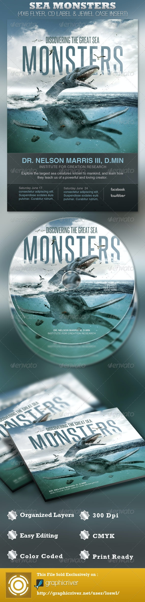 Discover Great Sea Monsters Church Flyer and CD - Church Flyers