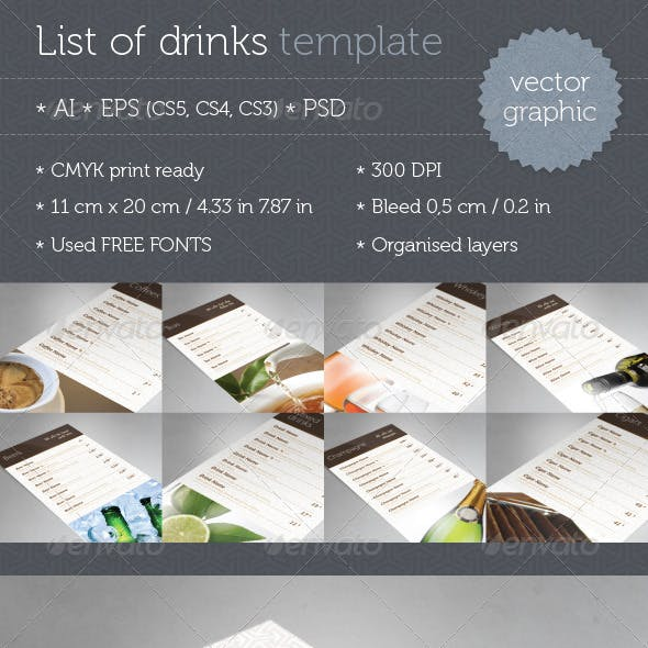 Genoa List of Drinks Template