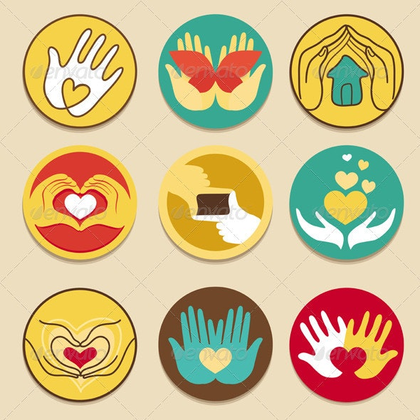 Collection of signs for charity organisations - Conceptual Vectors