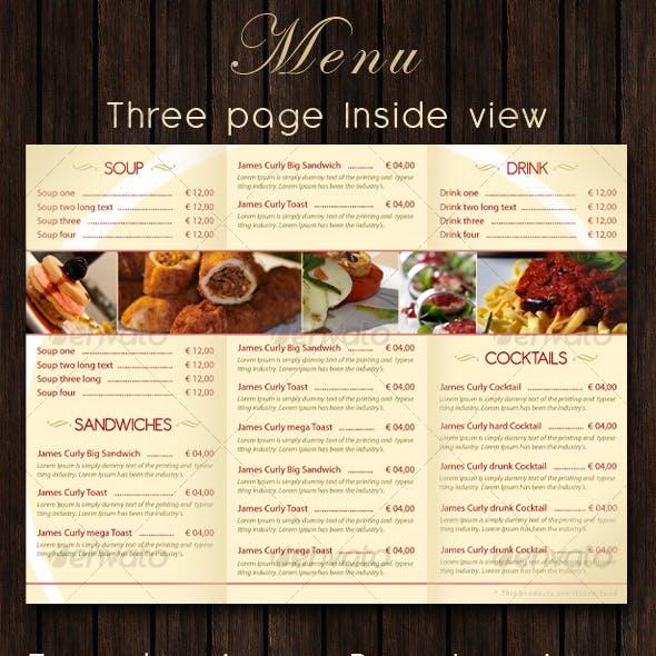 Bar - Restaurant Menu PSD