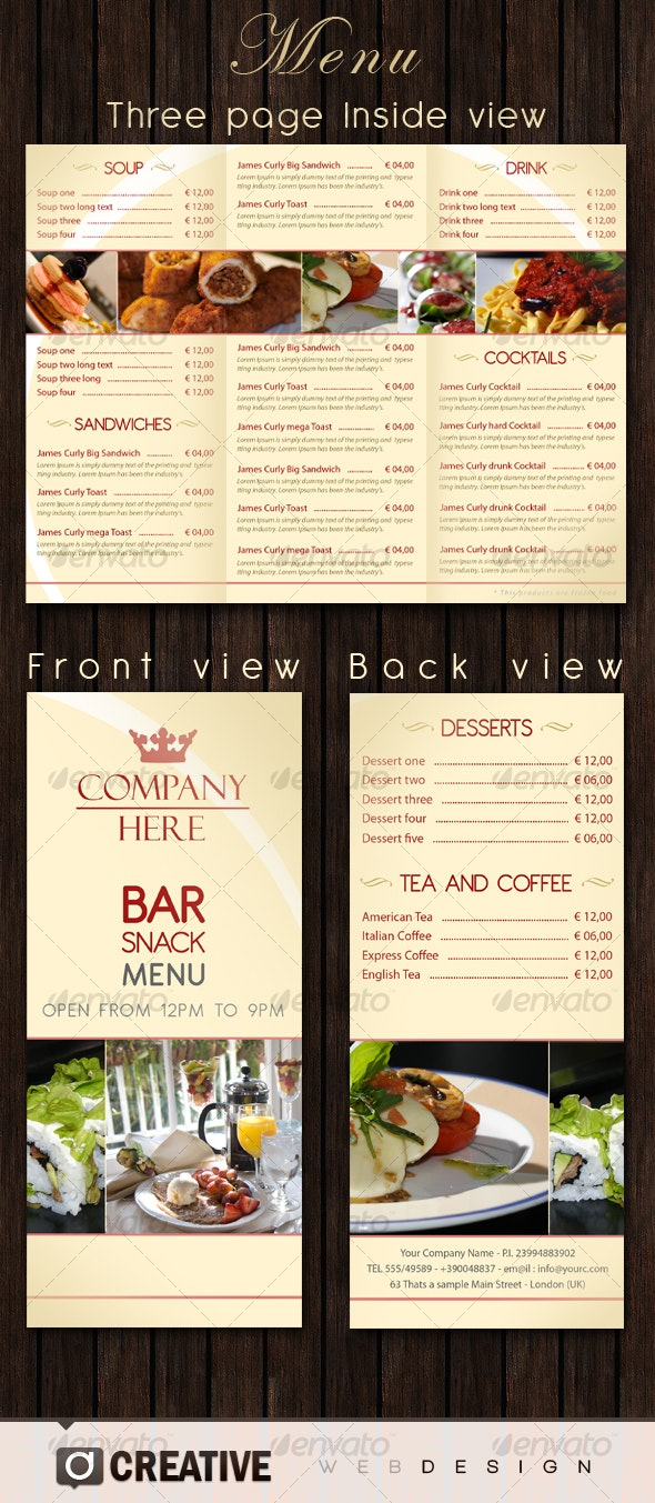 Bar - Restaurant Menu PSD - Food Menus Print Templates