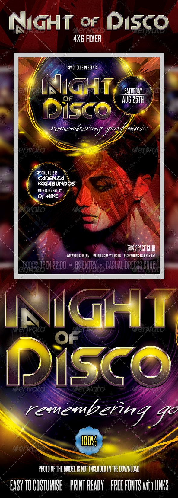 A night of Disco Flyer - Clubs & Parties Events