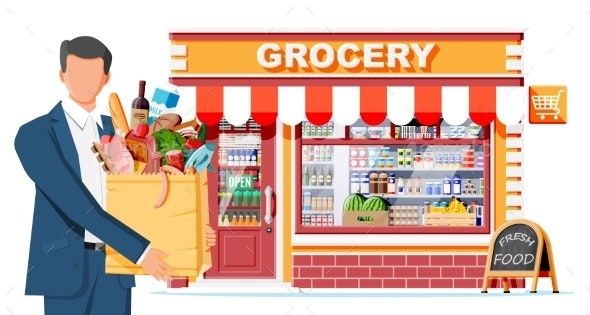 Grocery Store and Man Customer - Buildings Objects