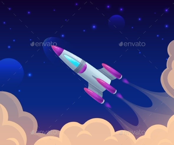 Rocket Launch Among Clouds and Sky - Man-made Objects Objects
