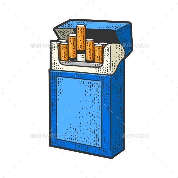 Pack of Cigarettes Sketch Vector Illustration - Objects Vectors