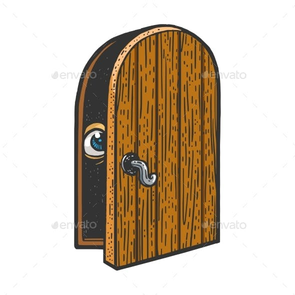 Eye Peeps Out the Door Sketch Vector Illustration