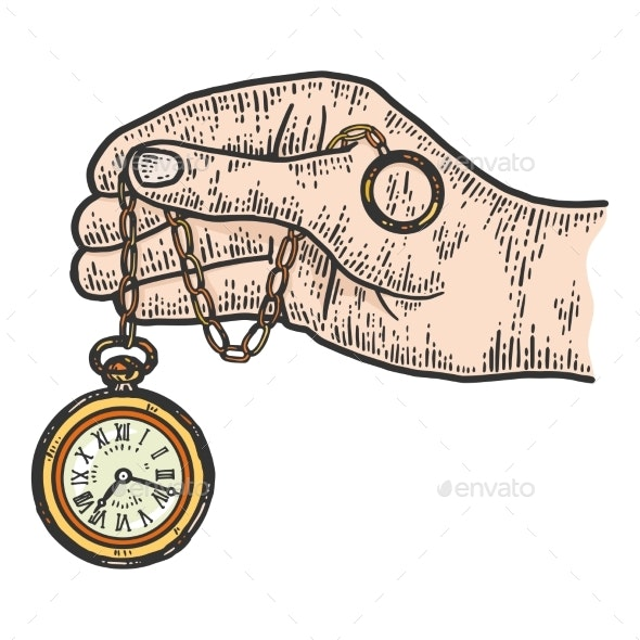 Male Hand Holds Pocket Watch - Objects Vectors