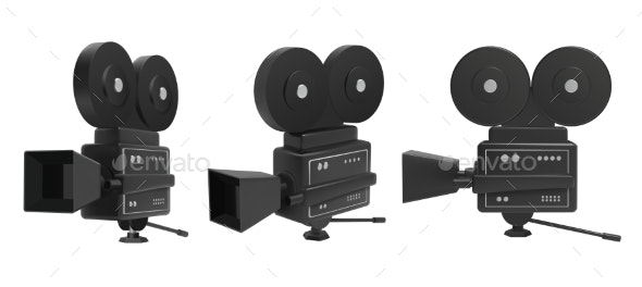 Retro Cinema Camera Vector Set of Icons Isolated - Man-made Objects Objects