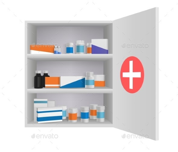 Medicine Cabinet with Tablets Pills and Drug - Health/Medicine Conceptual