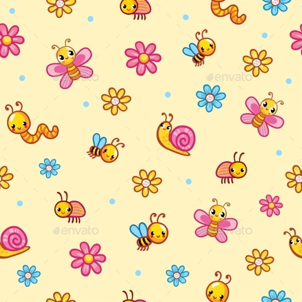 Vector Seamless Illustration on with Worm Snail - Animals Characters