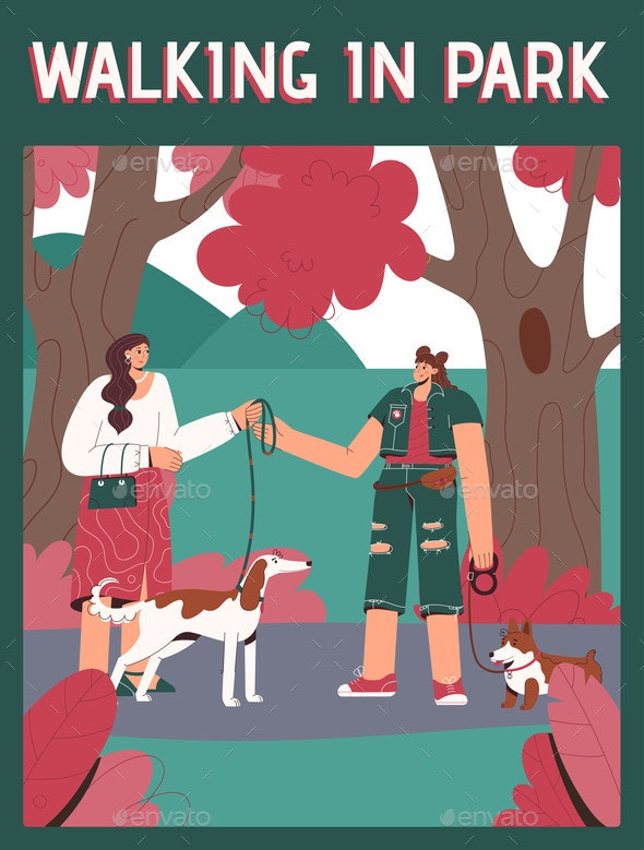 Vector Poster of Walking in Park Concept - Landscapes Nature