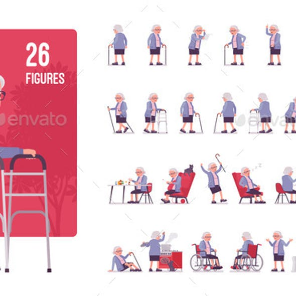 Old Woman Character Set Pose Sequences