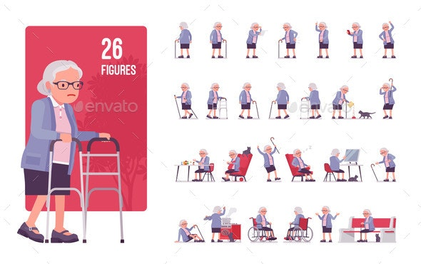 Old Woman Character Set Pose Sequences - People Characters