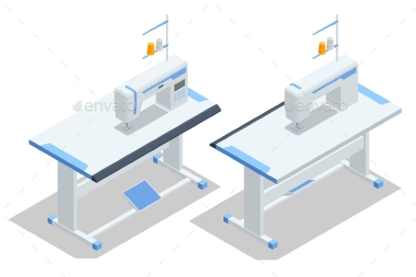 Isometric Sewing Machine on Table in Tailors - Industries Business