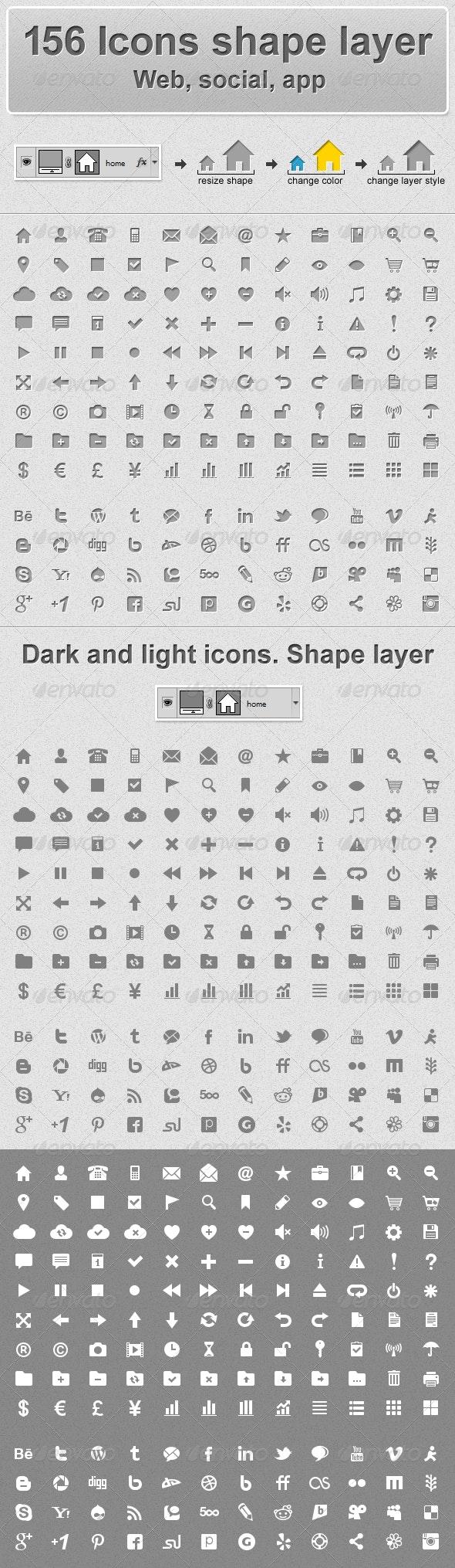 156 Web Icons - Shape Layer - Web Icons