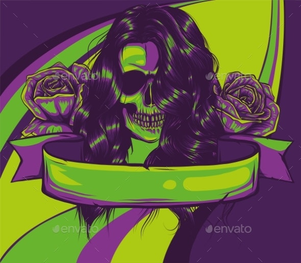 Vector Color Woman Skull Illustration with Roses - Miscellaneous Vectors