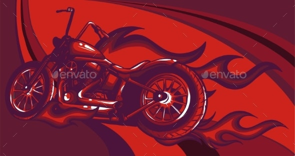 Chopper Rider Flaming Trail Vector Illustration - Man-made Objects Objects