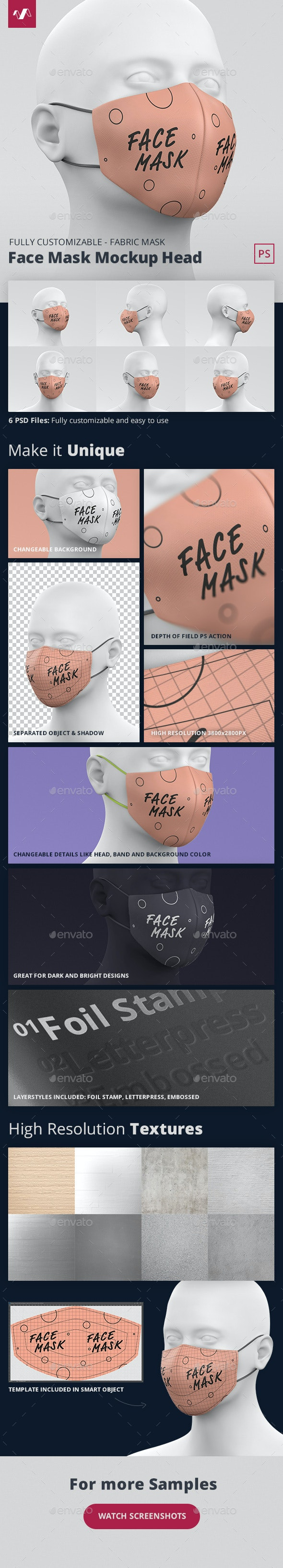 Face Mask Mockup Head Fabric - Miscellaneous Apparel