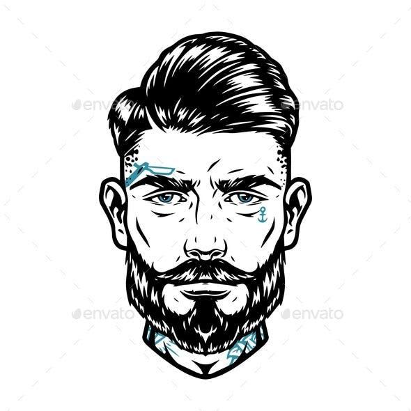 Stylish Male Head with Tattoos