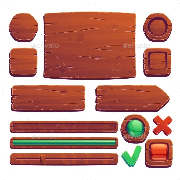 Wooden Game Buttons Cartoon Game Wood Interface