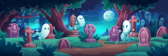 Cemetery with Ghosts at Nigh Graveyard in Forest - Miscellaneous Vectors
