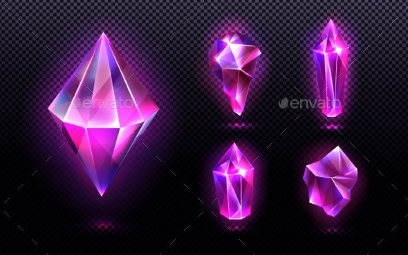 Magic Crystal Light Purple or Pink Gem Stones Set - Objects Vectors