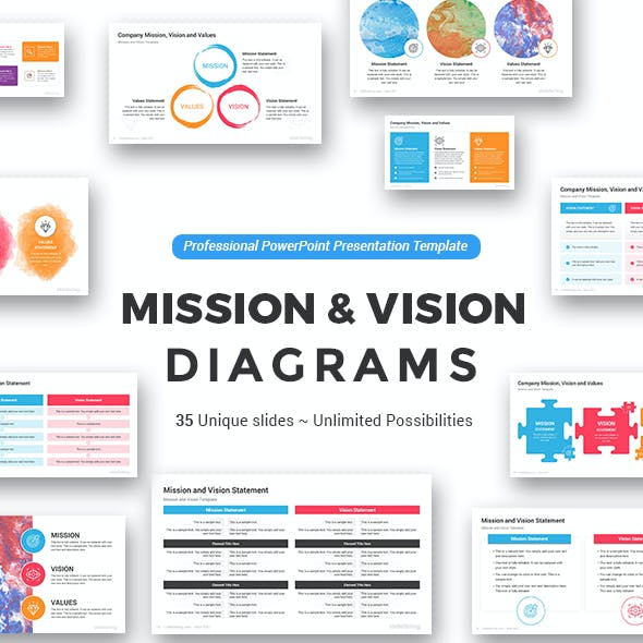 Mission and Vision PowerPoint Diagrams Template
