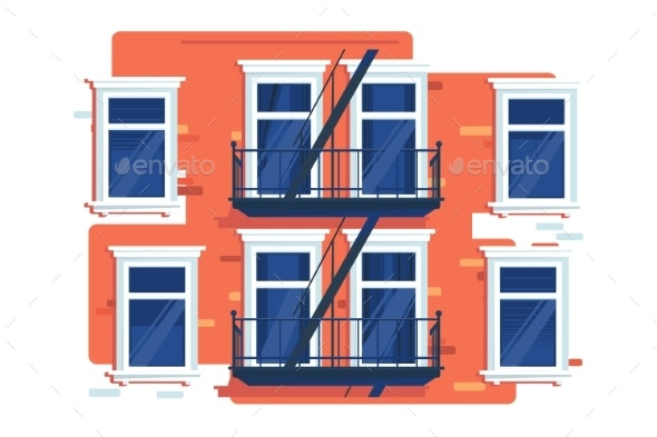 Wall of House with Windows and Stairs - Miscellaneous Vectors