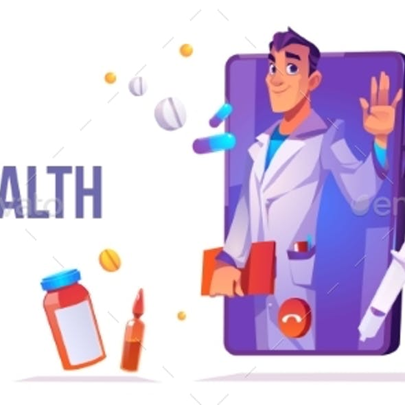 Telehealth Distance Online Medicine Cartoon Banner