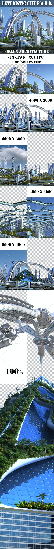 Futuristic City Pack 9. Green Architecture - Architecture 3D Renders