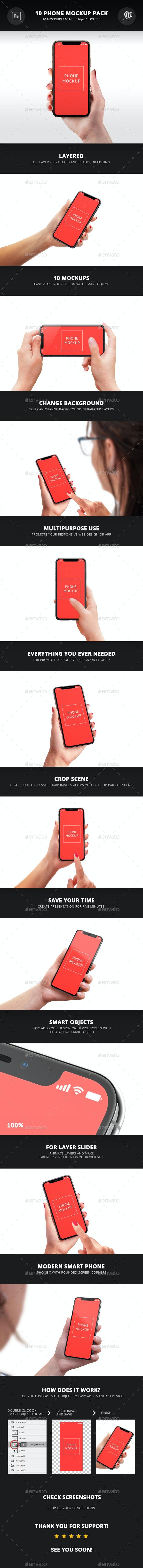 10 Phone Mockup Pack - Mobile Displays