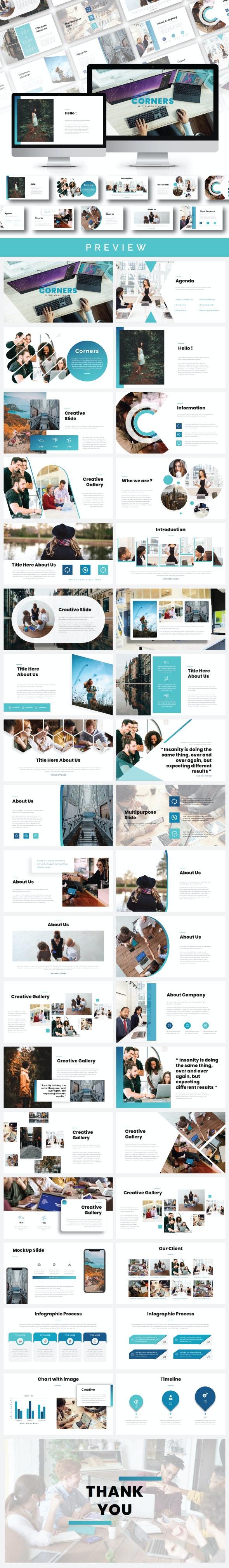 Corners Multipurpose PowerPoint Template - Creative PowerPoint Templates