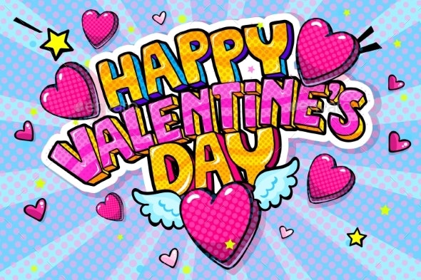 Happy Valentine's Day Lettering in Pop Art Style - Miscellaneous Vectors
