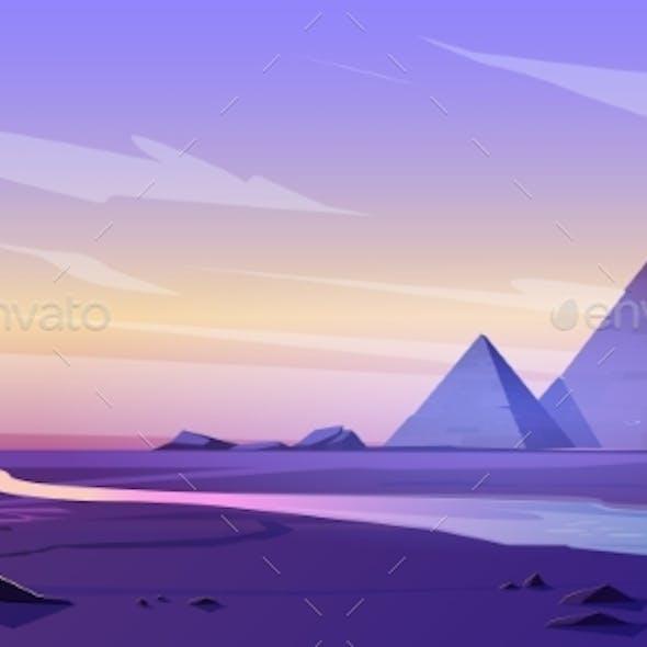 Egypt Pyramids and Nile River in Dusk Desert