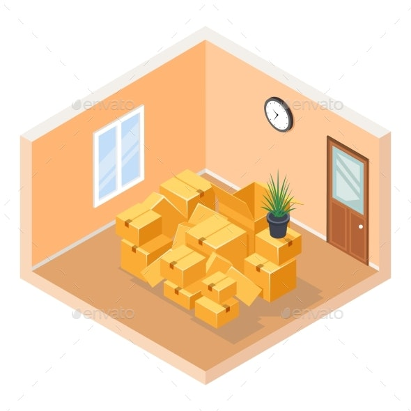 Moving Isometric Hall Room Cardboard Box Pile - Buildings Objects