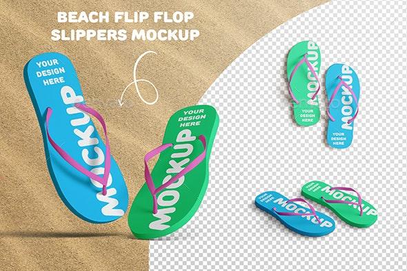 Flip Flop Beach Slippers Mockup - Product Mock-Ups Graphics