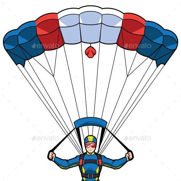 Parachuting Mascot Illustration