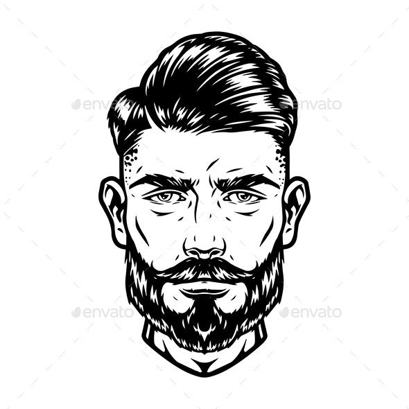 Bearded and Mustached Handsome Man Head - People Characters