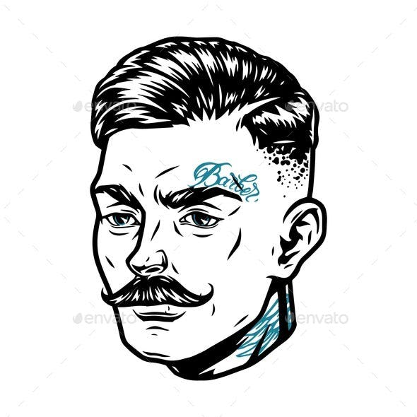 Fashionable Mustached Man Head