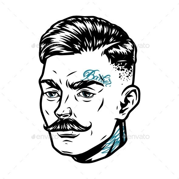 Fashionable Mustached Man Head - People Characters