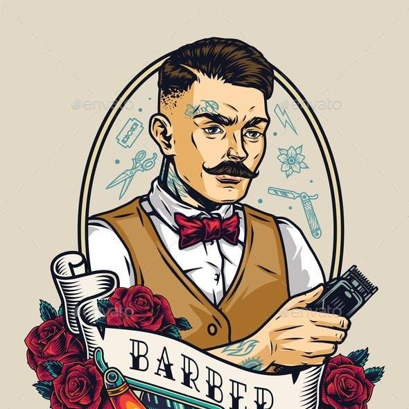Barbershop Vintage Colorful Badge