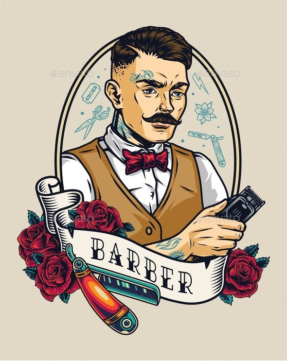 Barbershop Vintage Colorful Badge - People Characters