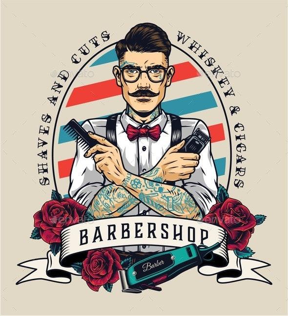 Barbershop Vintage Colorful Emblem - Miscellaneous Vectors