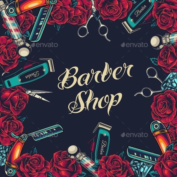 Barbershop Vintage Colorful Concept - Backgrounds Decorative