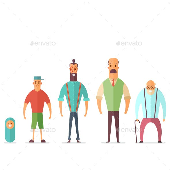 Baby, Teenager, Young, Adult And Elderly Person. Vector Cartoon Man Character.