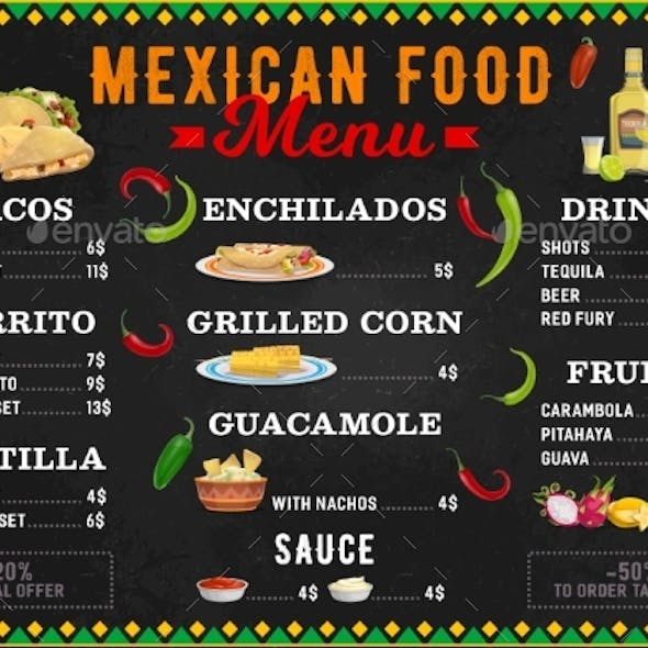Mexican Food Vector Menu Meals Cartoon Design